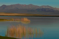 Serenity (Pejasar) Tags: paintcreations painterly artistic art nature beauty serenity peace hills mountains grass water