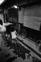 Way back (3586)A672 (soyokazeojisan) Tags: japan osaka city street light people bw blackandwhite monochrome analog bicycle children olympus m1 om1 21mm film trix kodak memories 1970s