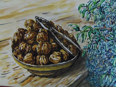 noix et ficus (christian angué) Tags: noix ficus plante interieur nature morte dessin peinture bretagne cassenoix maison aquarelle art