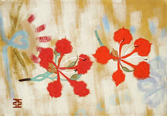 Glory-lily (Japanese Flower and Bird Art) Tags: flower glorylily gloriosa superba colchicaceae ai akino modern painting japan japanese art readercollection