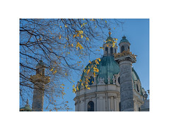 December Light in Vienna (My digital Gallery) Tags: karlskirche kuppel vienna austria europe eu december sky blue himmel blau blätter gelb leaves yellow dome architektur kirche church architecture barock karlsplatz