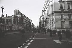 London (goodfella2459) Tags: nikonf4 afnikkor24mmf28dlens cinestillbwxx 35mm blackandwhite film analog city london road people pedestrians buildings bwfp