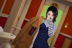 // toffee (Yokopuff) Tags: 3d game art photoshop photography digital colors lights lighting girl asian kawaii cute fashion makeup hair style styling model pose contrast body mouth eyes color shadows blue yellow red lips curves dress coat elevator