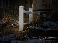 Off-Season (Bud in Wells, Maine) Tags: fence white dof light dark manipulation grass winter wellsbeach wells maine hff