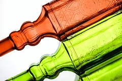 Red & Green (Karen_Chappell) Tags: two 2 bottle bottles red green white angle tilt glass stilllife product reflection ahspe abstract colour color colors colours colourful