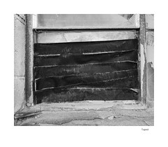 Taped (agianelo) Tags: black duct tape broken window repair decay monochrome bw bn blackandwhite