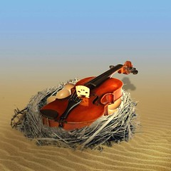 Incubating the music. (jaci XIV) Tags: música violino ovo ninho deserto fantasia surrealismo music violin egg nest desert fantasy surrealism