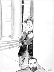 Palais de Tokyo, Paris - June 1975 (Rick Tulka) Tags: paris caricature pencil sketchbook drawing prattinstitute