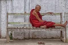 relax (mat56.) Tags: ritratto ritratti portrait persone people monastero monk monastery panchina nyaungshwe myanmar birmania burma asia relax bench mat56 romei antonio uomo man candid