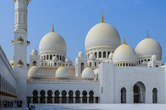 the mosque with 80 domes. Sheikh Zayed Grand Mosque (PlungeAct) Tags: mosque abudhabi white dome grandmosque architecture building fujifilm fujifilmmy bluesky blue bluehour