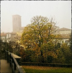 Storie di nebbia (color raimbow) Tags: fog foggy morning undefinite view strange autumn autumnview landscape littletown churches towers houses trees goldenleaves