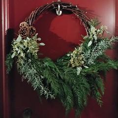 Okay this is a new one for me ... #offcentered #asymmetrical #wreath ... #grapevinewreath #pinecone #westernredcedar #blueicecedar #eucalyptus & #eucalyptuspods (Heath & the B.L.T. boys) Tags: instagram diy wreath christmas evergreen pinecone