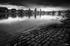 Prague VI (silver version) (Holger Glaab) Tags: prague travel city cityscape architecture blackandwhite bnw monochrome longexposure charlesbridge sky sunrise fineart architectur clouds