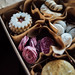 Top view Closeup mini cookies in vintage box. Colorful cookie