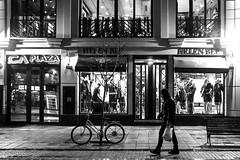 walk (brekna) Tags: street streetphotography streetphotobw streetphoto fujifilm xt1 bw blackandwhite monochrome minimal man human people outdoor walking window bycle rain