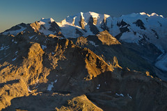 Evening view to the glaciers of the Bernina group (echumachenco) Tags: mountain mountainside mountains mountainrange mountainlake peak summit face wall ridge crest rock stone scree ice snow glacier berninagruppe pizcambrena pizpalü bellavista pizlanguard pizalbris view panorama august summer alps outdoor landscape evening serene sunlight shadow sky blue pontresina dreitausender morteratschgletscher valley valbernina oberengadin grisons grischun grigioni graubünden switzerland schweiz suisse svizzera svizra suiza nikond3100