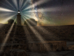 Lighthouse and ampitheatre at Night (pjluk) Tags: lighthouse cyprus paphos luminar