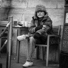 Chilled Smoker (evans.photo) Tags: pubs smoking drinking candid people ceredigion aberystwyth street bnw monochrome