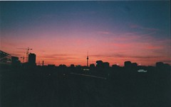 Warschauer Straße S-Bahn (herminades) Tags: 35mm film berlin germany filmcamera liddlcamera sunset sky fernsehturm