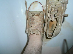 Plimsoll Gunging- white Converse look a likes and Black elastic slip-ons (eurimcoplimsoll) Tags: plimsolls plimsoles pumps daps trainers sneakers canvas shoes trash trashed gunge custard gravy ruined wrecked messy gusset