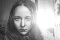 Trying new stuff - selfportrait (Cristina R Lluch) Tags: selfportrait canon mirror face cara ojos labios eyes lips hair espejo blancoynegro blackandwhite blackwhite portrait portraitphotography photoshop