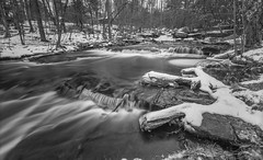 December Flow Over Minnie Falls (John Kocijanski) Tags: water waterfall stream minniefalls blackandwhite landscape sullivancounty leebigstopper longexposure snow canon1740mmllens canon5dmkii