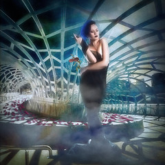 Caged (larwbuck) Tags: artistic boudoir city composite effects model outdoors painterly textures