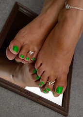 Experimentation (Mr2D2) Tags: sexytoes toes pedi pedicure greentoes greenpedi butterfly snake toering toerings ring rings anklet mirror latinfeet wife