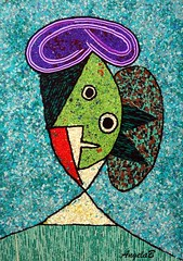 After Picasso N137 (Angela.B) Tags: picture picasso polymerclay painting purple green geometric art artinterpretation abstract artafterart multicolor colorful combination clayfimo creation