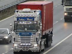 John-Paul, Scania R580 (JP55HGV) On The A1M Southbound (Gary Chatterton 8 million Views) Tags: johnpaultransport scaniatrucks scaniar580 jp55hgv shippingcontainer bigrig customisedlighting trucking wagon lorry haulage distribution logistics motorway flickr canonpowershotsx430 photography