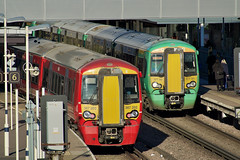 """We Do Others Colours Too, Sir"" (Deepgreen2009) Tags: gatwick airport station railway train transport red green electrostar 377 387 colours livery gtr southern express"