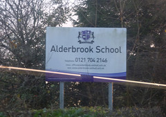 Early sunset from Alderbrook School - sign (ell brown) Tags: solihull westmidlands england unitedkingdom greatbritain streetsbrookrd blossomfieldrd alderbrookschool sunset tree trees bus 6 nxwm nationalexpresswestmidlands nationalexpresswestmidlandsplatinum sign