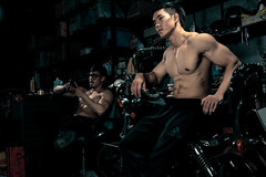 Motoboy (jrseqtaf98) Tags: portrait fashion people model film style styling stylish asian guy men sexy shirtless abs biker moto motocycle handsome man