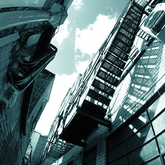 Ladder Shadow 2 (Peter Rea XIII) Tags: art architecture artistsontumblr abstract artwork biutifulpics city cameraraw d300s design experimental fisheye gradient imiging lensblr lightisphotography luxlit manchester nikon originalphotographers originalphotography photographersontumblr peterreaphotography photography pws p58 teal green submission streetphotography street telescopical urban xonicamagazine ycphotographs square