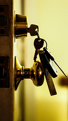 She left her keys in the door (@manylaughs) Tags: keys lock security closeup yellow gold brass
