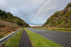 Downhill rainbow (jac.photography49) Tags: autumn airsea beach canon clouds downhill exposure sea headland fullframe fauna images inishowen view wideangle sky 5dmkiii loughfoyle mountain northernireland ngc lough donegal seascape tiltsshift water winter 24mm