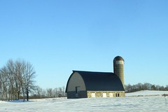 Little barn (novice09) Tags: barn snow silo rural countryside ipiccy