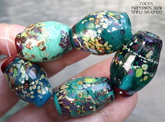 Rocks Mermaids Teal Shiny Silvered (Laura Blanck Openstudio) Tags: openstudio openstudiobeads handmade murano lampwork glass beads made usa whimsical funky odd nuggets rocks pebbles stones multicolor colorful jewelry abstract asymmetric bohemian fine arts art artist artisan big huge earthy organic frit speckles shiny sterling silver silvered green mermaid teal bottle pine jungle forest raku ocher violet purple magenta fuchsia lilac lavender grape plum eggplant mauve red burgundy coral