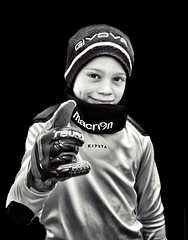 Ready for the ... parade (Federico Fulcheri Photo) Tags: federicofulcheriphoto© portrait blackandwhite young boy son sportwrare sport football goalkeeper people snapseed iphone11promax iphone apple