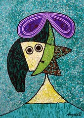 After Picasso N136 (Angela.B) Tags: picture picasso polymerclay painting purple green geometric art artinterpretation abstract artafterart multicolor colorful combination clayfimo creation
