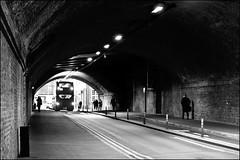 Tunnel vision - DSCF6624a (normko) Tags: london south bank bridge tunnel bus shadows light mono brick work railway arch