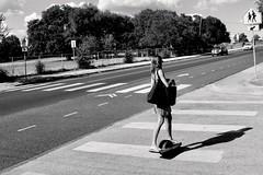 City Surfing (RADfotoX) Tags: surfing city onewheel one wheel board skate skateboard streetphotography street shadow barefoot monochrome woman black white keepaustinweird blackwhite