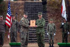 "U.S. Marines, Soldiers, JGSDF participate in a closing ceremony during Forest Light Middle Army. (#PACOM) Tags: shiga japan 3rdmarinedivision 3dmardiv commstrat usmc readiness pacific udp 25thregiment 1stbattalion jgsdf 4thregiment 4threg forestlight forestlightmiddlearmy marineforcesreserve 8thinfantryregiment bilateralexercise closingceremony usindopacificcommand ""usindopacomaibano training area"