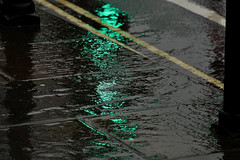 Wet And Green (Deepgreen2009) Tags: green light rain wet reflection pavement glossy weather