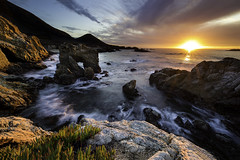 Golden Last Light (Omnitrigger) Tags: seascape california sunset sun light goldenlight goldenhour outside nature coastline sunstar seastack seaarch feature longexposure cliffs rocks iceplant