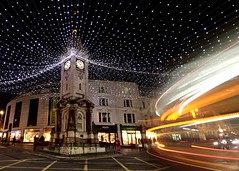 Brighton Clock Tower at Christmas (Wendy Ellison) Tags: long exposure light trails night east sussex