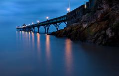 Pier Lamplight II (steve_thole) Tags: clevedonpier somerset clevedon landscape landmark sea seascape beach rocks lamplight dusk