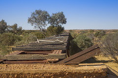 DSC09598 (slackest2) Tags: railway oodnadatta track south australia bush outback box creek ghan bridge old sleepers wooden metal blue sky trees