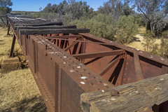 DSC09602 (slackest2) Tags: railway oodnadatta track south australia bush outback box creek ghan bridge old sleepers wooden metal blue sky trees