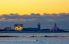 Goat Island Lighthouse (arlene sopranzetti) Tags: cape porpoise maine kennebunkport goat island lighthouse dawn yellow blue winter